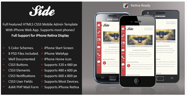Side Mobile Retina | HTML5 & CSS3 And iWebApp