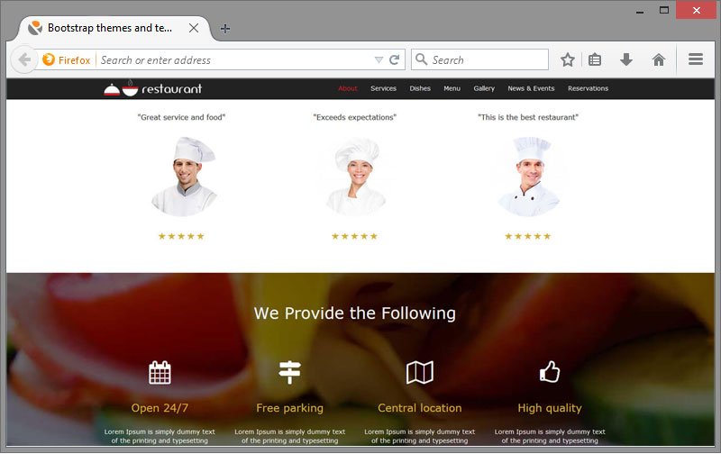 My Restaurant Bootstrap Theme