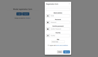 A responsive login and registration template with modal.