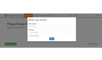 A template, demonstrating a popup modal window