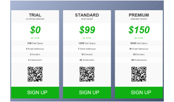 A template, demonstrating a pricing table layout with columns