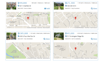 Bootstrap template, demonstrating a simple real estate list with a map