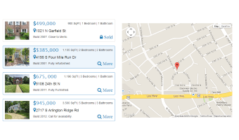 Bootstrap template, demonstrating a real estate list with a map