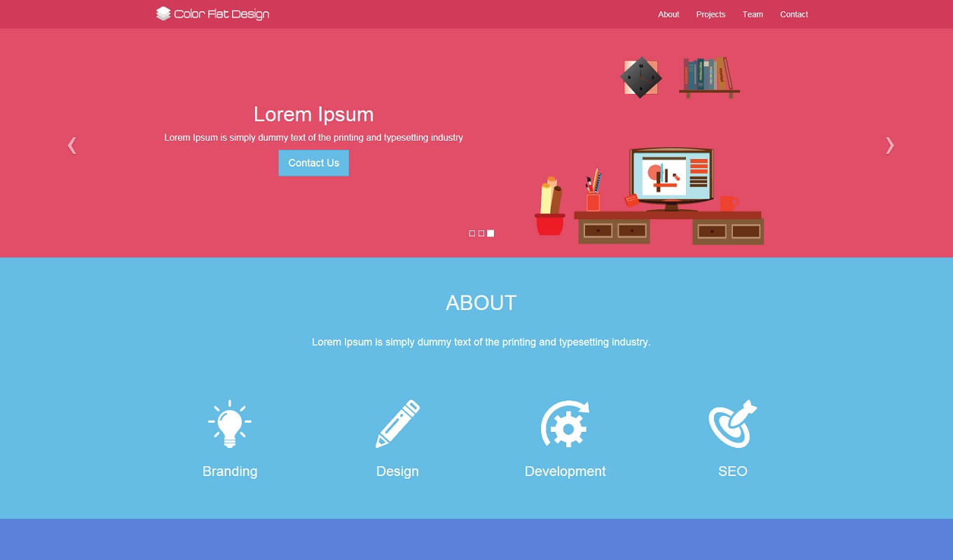 A flat-design colorful theme