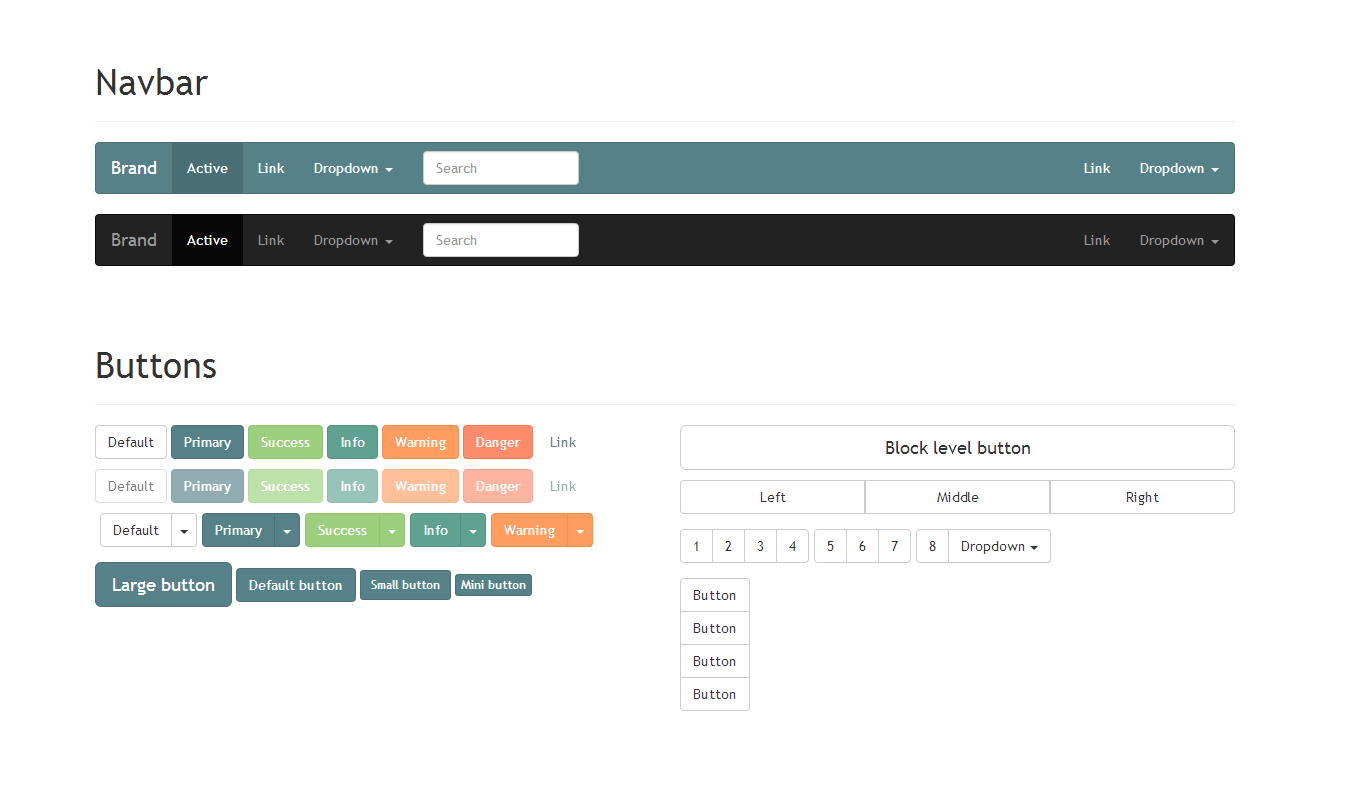 This is a custom Bootstrap theme with a palette of pastel warm colors